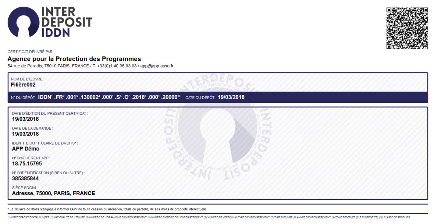 Photo du certificat IDD délivré par l'APP